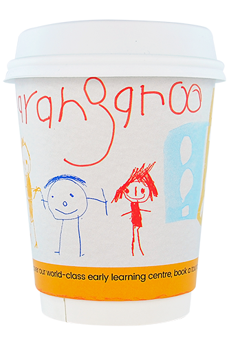 coffee cup advertising guardian early learning barangaroo campaign cup